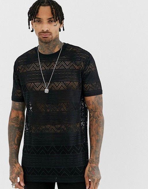 3aa1d5c8da4e7 ASOS DESIGN relaxed longline t-shirt in cotton mesh in black  MensT-shirts