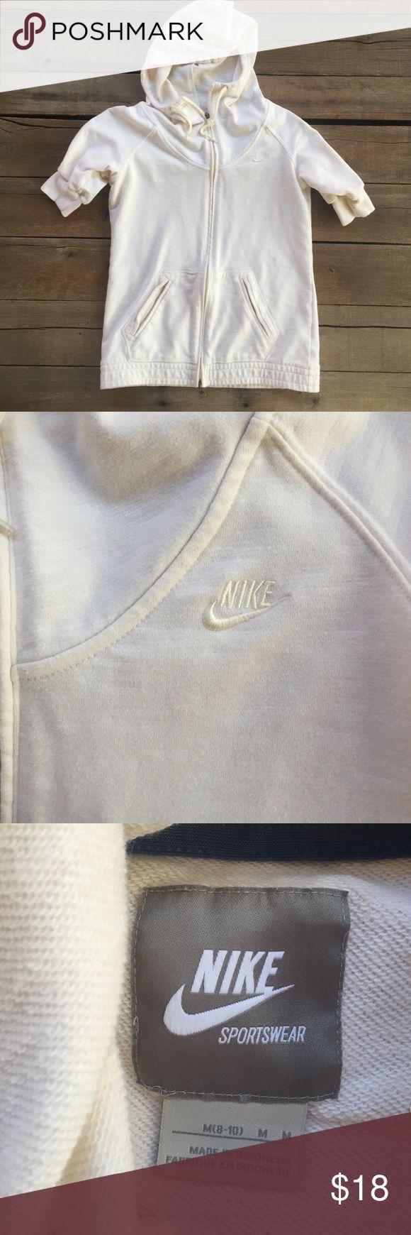Nike Zip Up Hoodie Cream zip up hoodie, short sleeves with pockets. Great condition! Nike Tops Sweatshirts & Hoodies