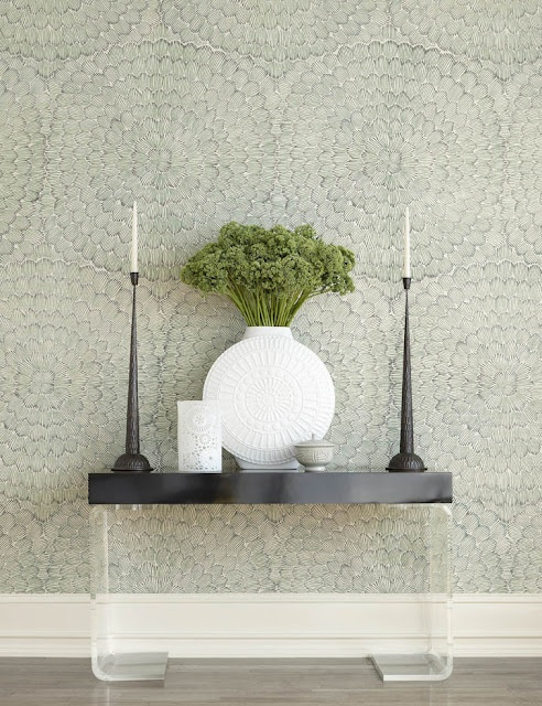 Celerie Kemble's wallpaper collection for Schumacher.  Feather Bloom textured like grasscloth