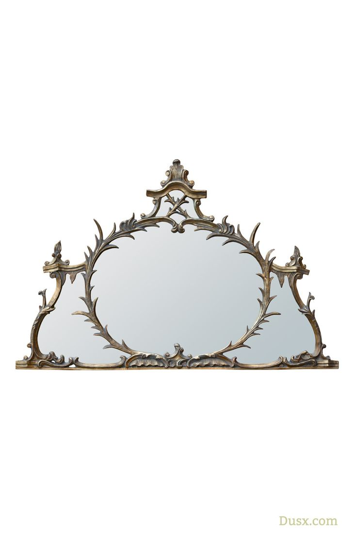 Antique Gold Overmantle Metal Framed Decorative Wall Mirror : For sale at www.DUSX.com