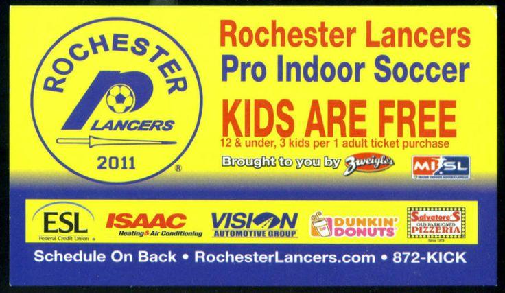 2011-12 ROCHESTER LANCERS ESL DUNKIN DONUTS SOCCER POCKET SCHEDULE  #Pocket #SCHEDULE