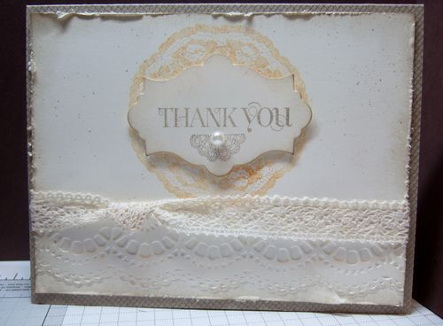 "Supplies used: stamps: Gossamer Lace, Kindness matters, Curly Cute, Netting; 5/8"" crochet trim; Delicate Designs embossing folder; Apothecary Accents framelits; basic pearls; big shot"