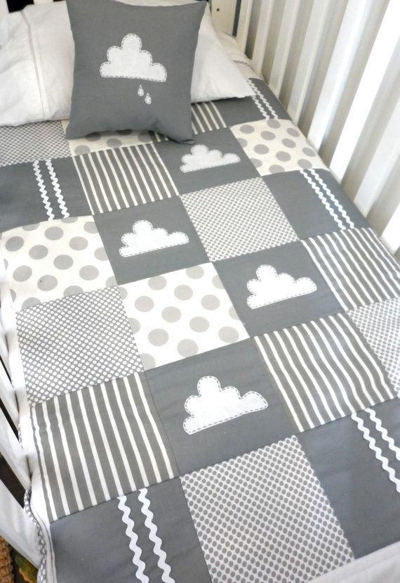 Etsy alphabetmonkey little cloud crib quilt gray/white