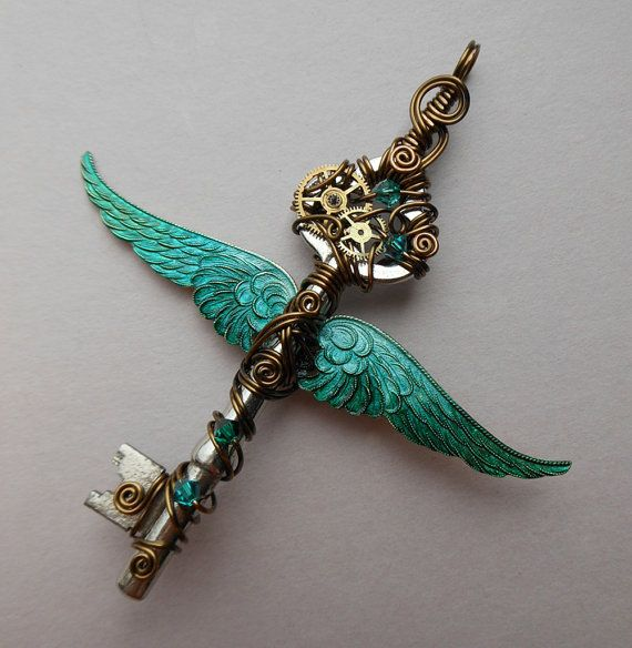 Winged Clockwork Key Pendant -- Steampunk Teal Green Inked Large Feathered Winged Key with Gears, Swarovski Crystals (A Key to Time)