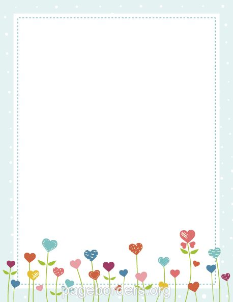 Printable heart flower border. Use the border in Microsoft Word or other programs for creating flyers, invitations, and other printables. Free GIF, JPG, PDF, and PNG downloads at http://pageborders.org/download/heart-flower-border/ #scrapbookprintouts