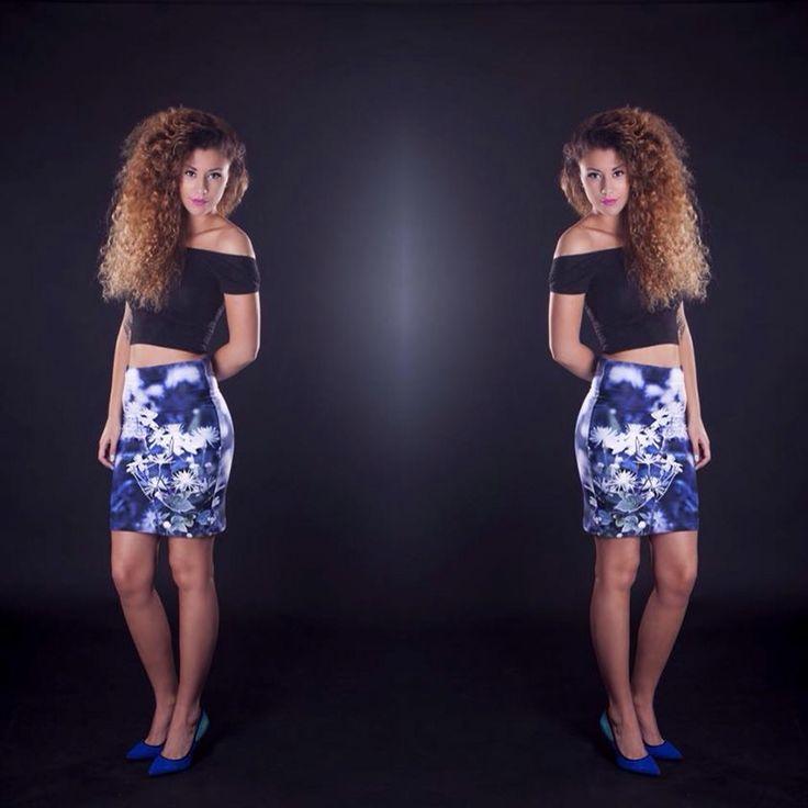 "Lookin hot in ""blue august"" skirt. Design by Jeanette Nilssen. Inspired by Norwegian nature. Find more beautys on www.jeanettenilssen.com"
