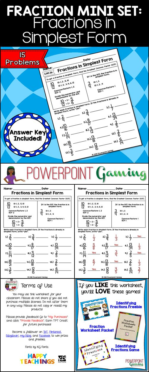 Reinforce fraction skills with this simples form worksheet. Students use the greatest common factor (GCF) to reduce fractions to their simplest form. There are guided notes at the top of the sheet as a reference. There are 15 questions in all and makes a great sheet for beginners. Perfect as a class assignment or homework sheet. Extra licenses are $0.50.