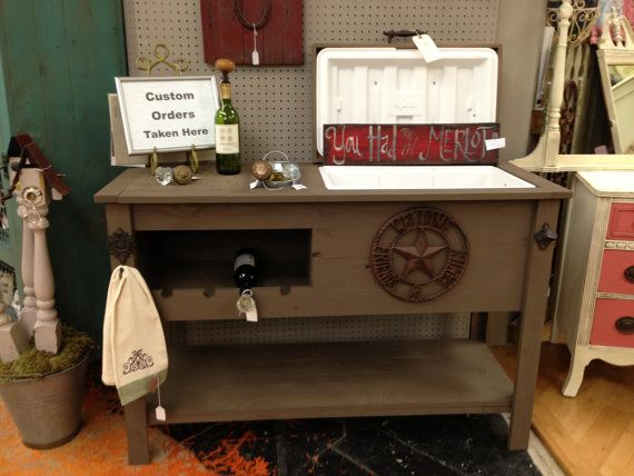 Outdoor Rustic Wooden Cooler Bar Serving Or Console Table Cart Mini Fridge Cabinet And Patio Furniture