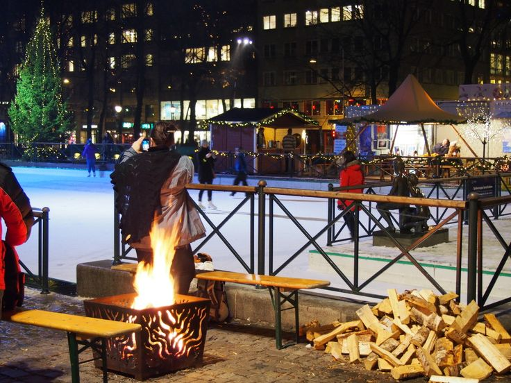 Outdoor skating rink at the Oslo Christmas Market. Lots of fires around the rink to keep warm while you enjoy mulled wine!