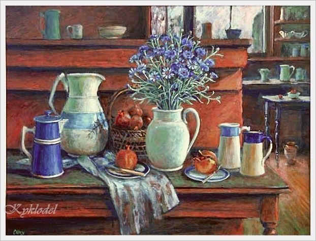 Margaret Olley (Australian, 1923 - 2011) «Blue cornflowers» 1995