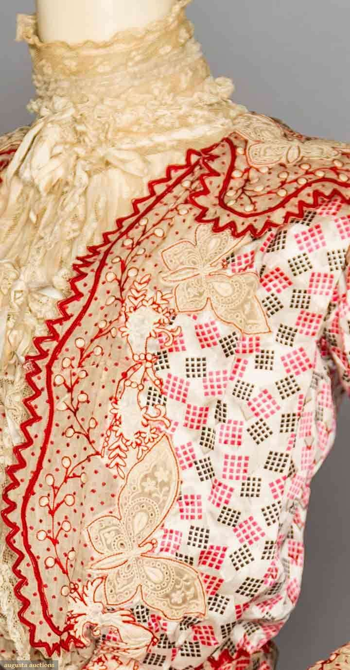 Stunning embellishment details on this Turn of the century bodice. Source: Augusta Auctions. Victorian/ Edwardian fashion. lace, fabric pattern, embroidery.