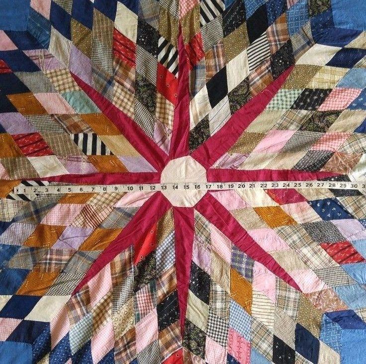 "Vintage 1930s Baldwin Family QUILT STAR TOP Antique Fabrics 71"" x 78"""