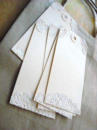 doily tags.....so simple, yet sweet, easy handmade invitations