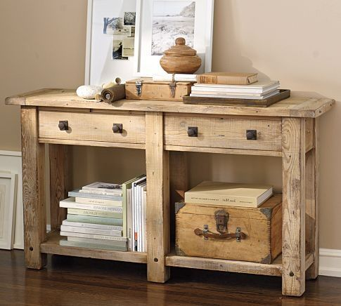 Superb Pottery Barn Benchwright Console Table In Wax Pine