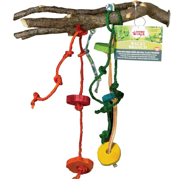 LW Wacky Branch w Knotted Sisal Rope & Wood Chunks Medium