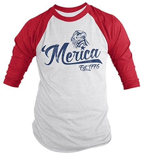 Shirts By Sarah Men's Patriotic 'Merica Est. 1776 Eagle Distressed 4th July 3/4 Sleeve Raglan Shirt