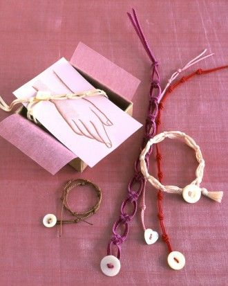"""See the """"Knot Bracelet"""" in our Valentine's Day Crafts  gallery - http://www.marthastewart.com/913767/knot-bracelet?czone=holiday%2Fvalentine-center%2Fvalentine-cnt-gifts&gallery=274866&slide=913767&center=276967"""
