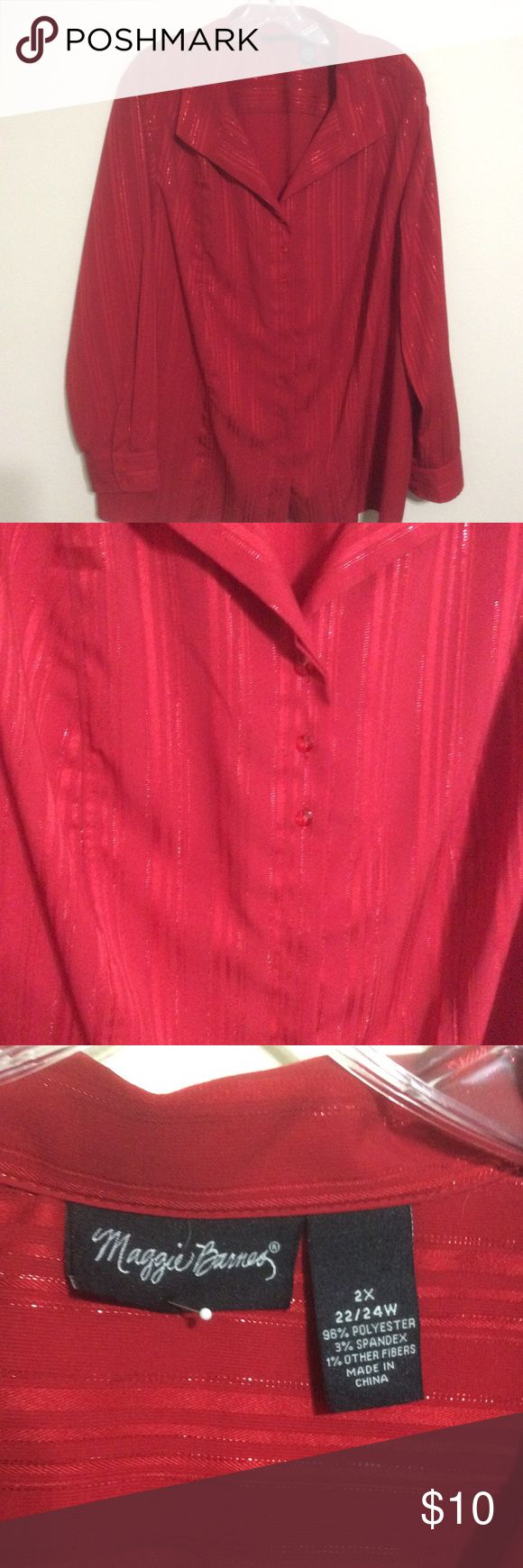 """Woman's Blouse (Maggie Barnes) Beautiful red  and red metallic  Blouse  with red glass buttons .Blouse is 28"""" long and 24"""" sleeves . Sleeves have cuffs with red glass buttons . Polyester and spandex and is washable like new Maggie Barnes Tops Blouses"""