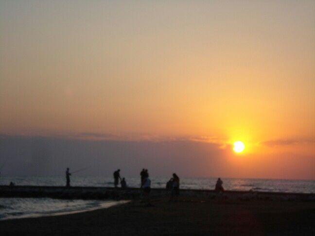 Sunset & fishing in the Mediterranean