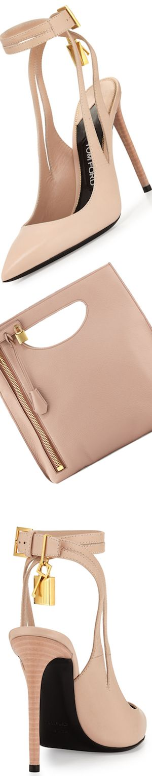 TOM FORD Leather Ankle-Lock 105mm Pump, Nude and Alix Fold-Over Crossbody Bag, Blush Nude