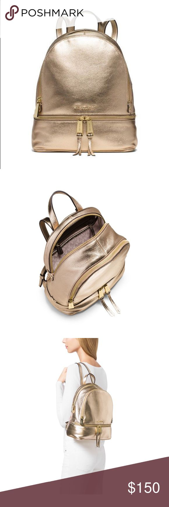 Michael Kors Gold metallic backpack Laid-back yet luxe the Rhea backpack redefines big-city accessorizing. We love the combination of shimmering metallic Venus leather and a simple streamlined silhouette. With its multiple zipper pockets and delicate shoulder straps it's a gl amorous take on an enduring design. Size: One size. Color: Pale Gold(Gold). There is a small blemish on the front of the bag but leather cleaner may take it off. I haven't tried. Other than that it's in mint condition…