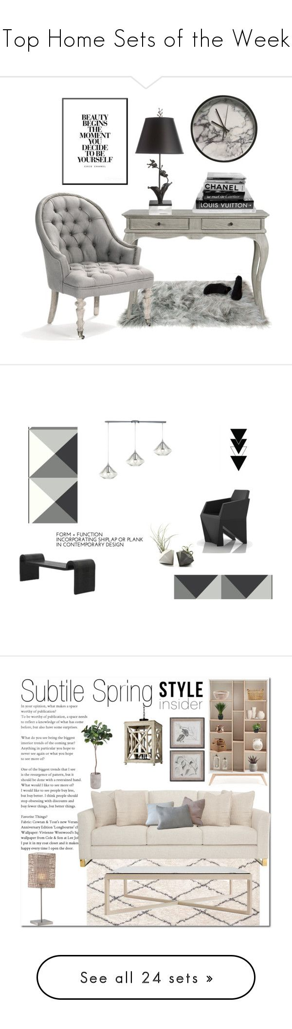 """""""Top Home Sets of the Week"""" by polyvore ❤ liked on Polyvore featuring interior, interiors, interior design, home, home decor, interior decorating, Michael Aram, Crystal Art, Chanel and ELK Lighting"""
