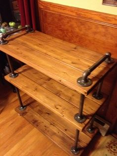 pipe shelves how to - Google Search==== Could do something similar and make a bar cart.