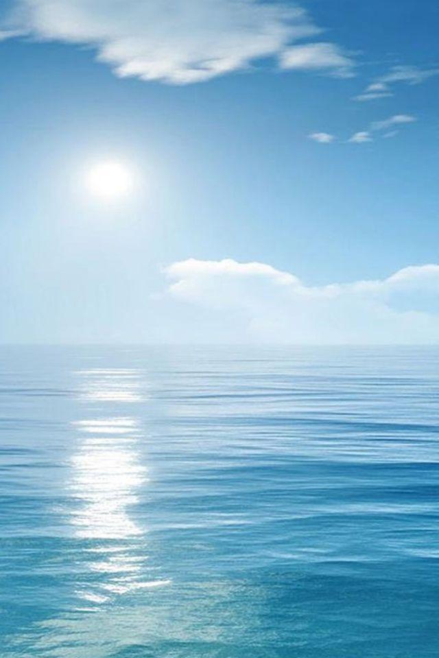 Nature Sunny Skyscape Ocean Scene iPhone 4s wallpaper
