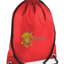 Personalised childrens gym bags are Personalised by Embroidering your name to the kids gym bag also the Monkey is embroidered onto Drawstring Gym Bag. Making this an ideal personalised childrens gift price £9.99 including free uk delivery. #monkey #gymbag #personalised #childrens #childs #embroidered #gift #presents #kids #cheeky