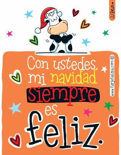 Navidad con felicidad-Vaca Flora feliz en navidad. © ZEA www.tarjetaszea.com