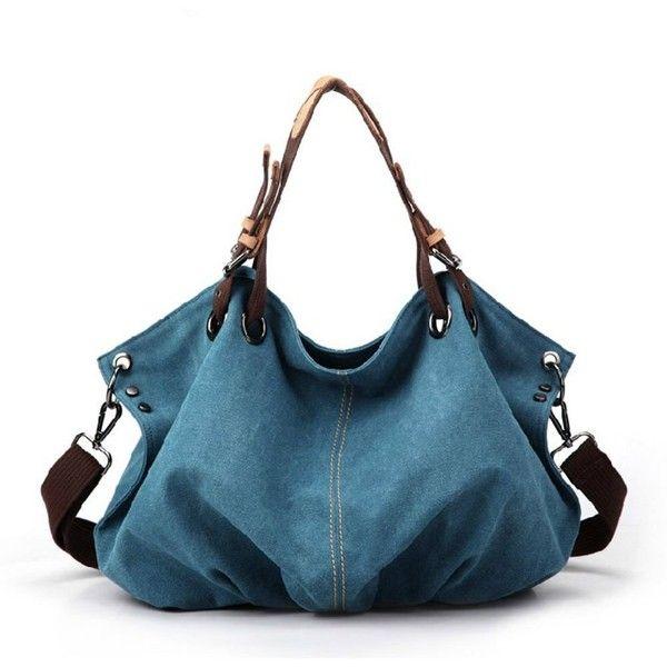 Leisure Street-chic Blue Canvas Handbag Shoulder Bag ($44) ❤ liked on Polyvore featuring bags, handbags, shoulder bags, purses, canvas purse, canvas shoulder bag, blue hand bag, canvas handbags and blue handbags