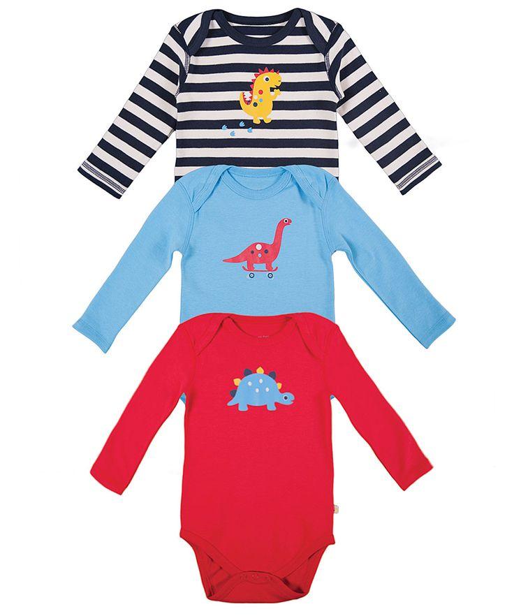 Body Manica Lunga (Pacco da 3) Amici Dinosauri - Abbigliamento Neonato e Bambini