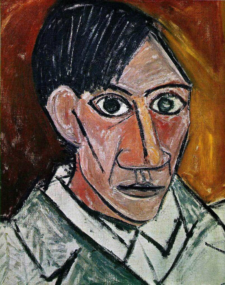 Cubism Portraits | an African Zimba mask to the left, and one of Picasso's self-portraits ...