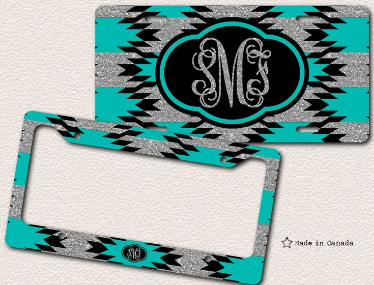 Silver glitter, Tiffany Blue, Aqua Blue, Turquoise, Aztec Pattern, Bike Tag, Car Tag, License Plate Frame - monogrammed license plate by SaidTheOwl on Etsy