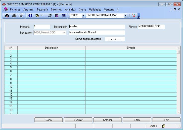 Memoria del programa ERP Gextor Financiero (contabilidad).