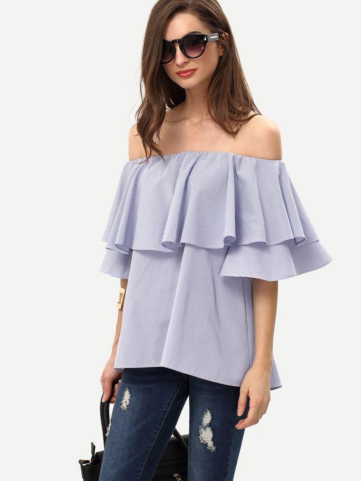 Shop Royal Blue Ruffle Off The Shoulder Blouse online. SheIn offers Royal Blue…