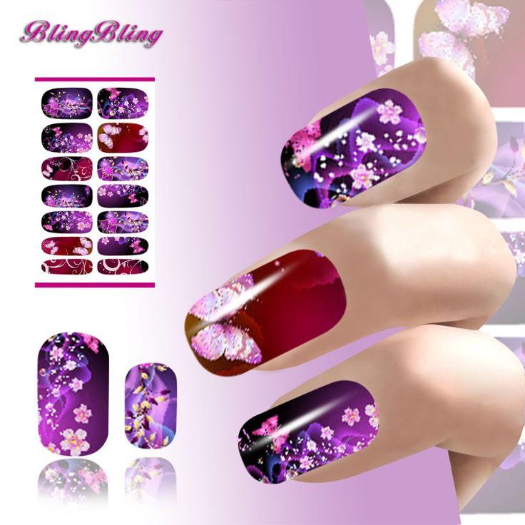 水転写ネイルアートステッカーデカール花セクシーな軽薄な紫色の輝きデザイン用爪はマニキュアアクセサリー