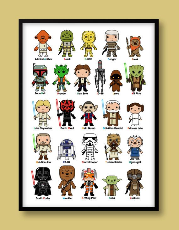 Star Wars inspired A-Z print, kids wall art, Star Wars, Darth Vader, Jedi, Stormtrooper, Luke Skywalker, A-Z print, Star Wars nursery