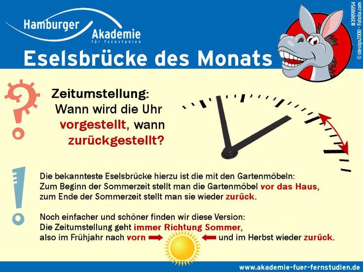 Immer zur Zeitumstellung die gleiche Verwirrung: Wird die Uhr nun zum Beginn der Sommerzeit vor- und zum Ende zurückgestellt oder umgekehrt? Klärt unsere Eselsbrücke des Monats!