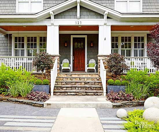 Be the trendiest house on the block by using some of these curb appeal ideas. See how to style your garden, front steps, walkway, front door and porch furniture to create a welcoming space.