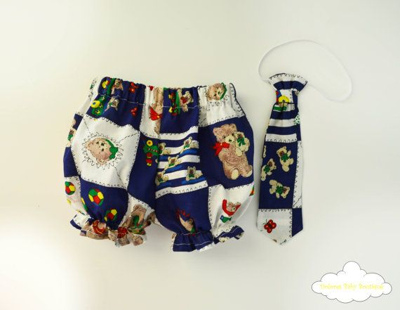 Bear Bloomers Baby Boy Tie Bow Baby Boy Set by DoloresBabyBoutique