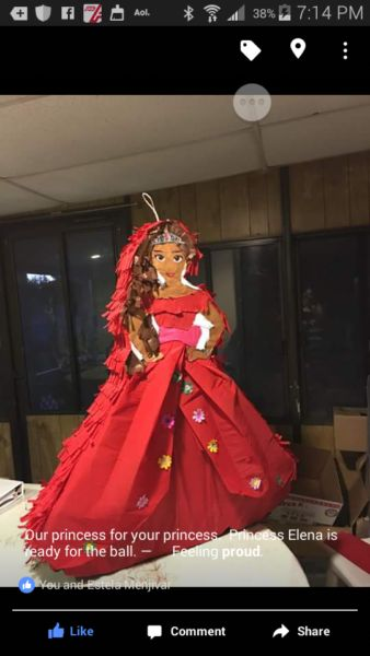 Elena of Valor pinata. Perfect for any princess birthday party or celebration. Can be made to any size. Contact us via Facebook @mypartypinatas or our website at www.mypartypinatas.com.