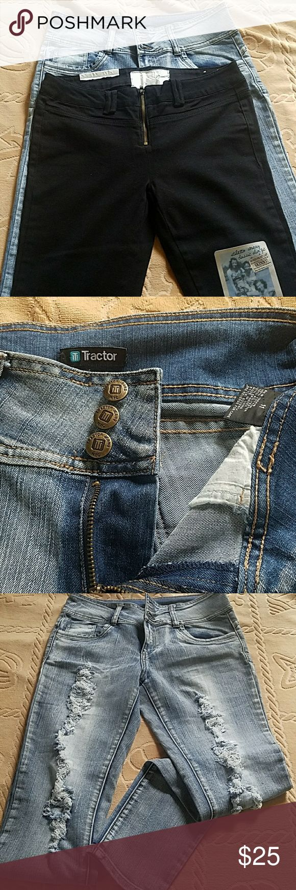 Two pair of jeans - the bundle to save on shipping Black Dollhouse  stiletto skinny jeans. Classic slim fit. Size 13. Some tags are still attached. Blue Tractor jeans worn once. Size 11. You can see on the picture that they are very close in sizing and exactly the same length. Dollhouse Jeans Skinny