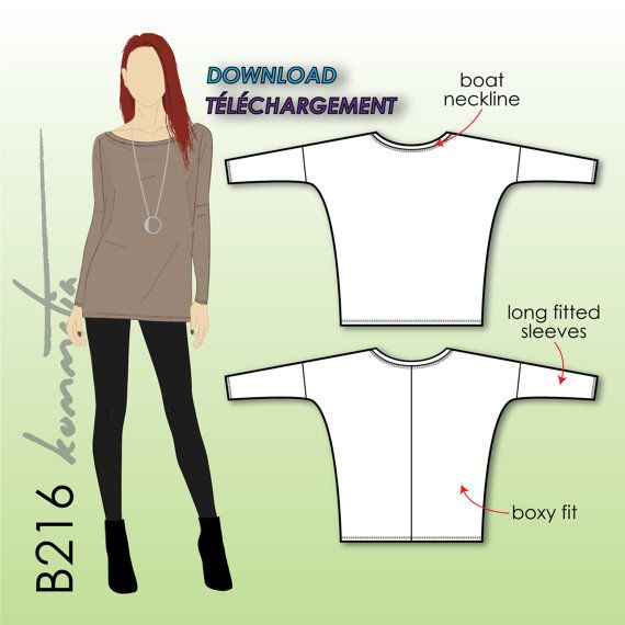 Boxy loose tunic, top with long sleeves - PDF sewing patterns womens size - Stretch knits jersey spandex Kommatia Patterns