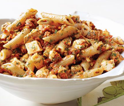 Penne with Tomato Pesto and Smoked Mozzarella: I made this recently, and absolutely love the homemade sun-dried tomato pesto!