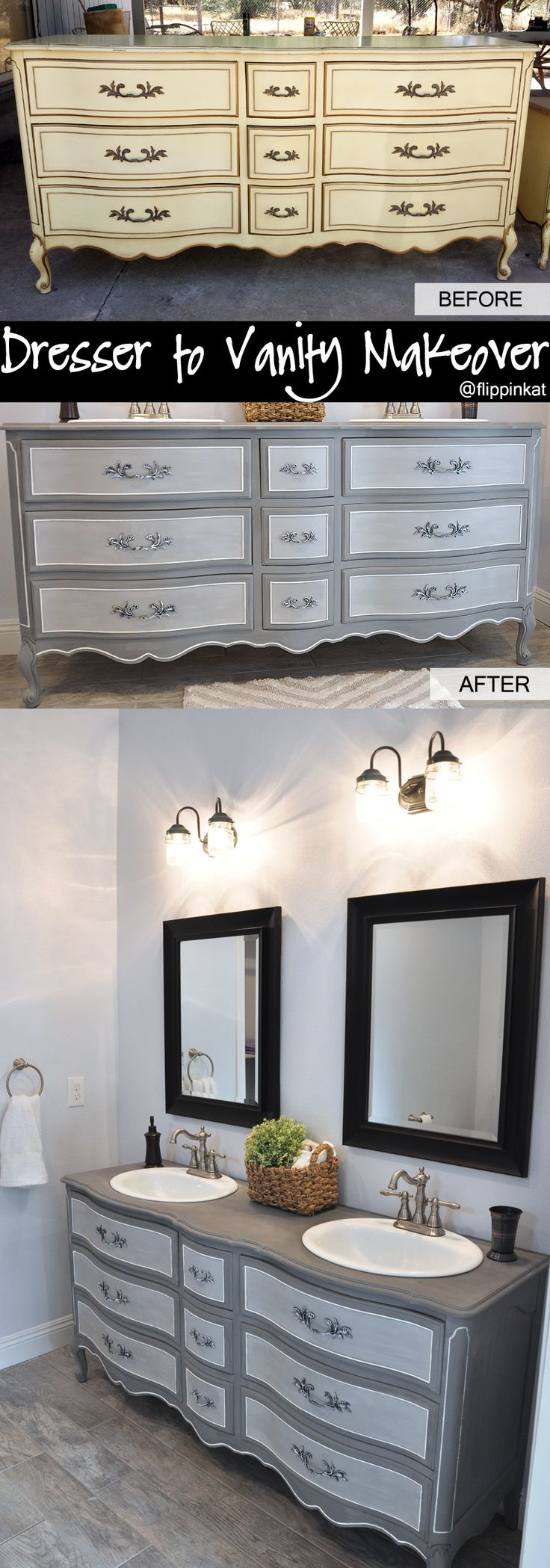 Dresser to vanity and bathroom renovation. Got an old French Provincial style dresser off Craigslist and gave it a makeover! I love the before and after.                                                                                                                                                                                 More