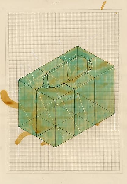 Rachel Whiteread, Untitled (Green Bath), 1995, Resin, ink and varnish on graph paper, 23 1/4 x 16 1/2 inches