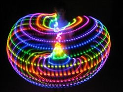 Price: $149.99    LED Hoop Features        quick-change battery design, so you can play all night      push button connection so it can be carefully coiled down for storage or travel      rechargeable lithium-ion battery and charger included      counter-weighting to balance the battery      grip tape along the inner contact surface      simple on/off mechanism, no tiny switches      6 month warranty (excludes accidents with kinking the tubing!)      no-rattle design