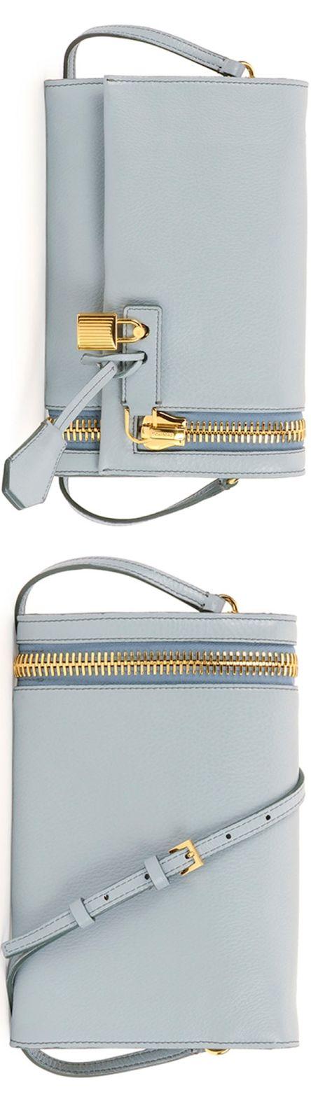 Tom Ford Alix Small Zip & Padlock Crossbody Bag, Light Blue LOOKandLOVEwithLOLO