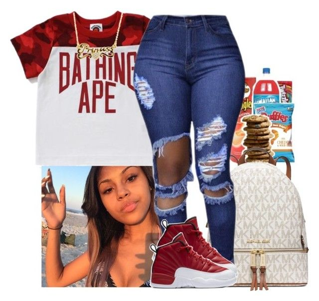 """Bape"" by xtiairax ❤ liked on Polyvore featuring MICHAEL Michael Kors, NIKE and BackWithBape"